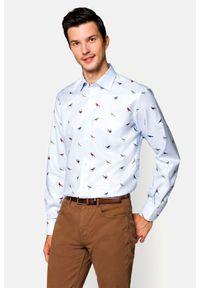Lancerto - Koszula Błękitna z Nadrukiem Everly. Kolor: niebieski. Materiał: włókno, jeans, tkanina, bawełna. Wzór: nadruk
