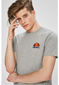 Szary t-shirt Ellesse na co dzień, melanż, casualowy
