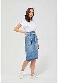 MOODO - Spódnica jeansowa z wysokim stanem. Stan: podwyższony. Materiał: jeans. Wzór: gładki