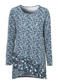 Cellbes Dżersejowa tunika z falbanką niebieski we wzory female niebieski/ze wzorem 34/36. Kolor: niebieski. Materiał: jersey. Długość rękawa: długi rękaw. Długość: długie. Styl: elegancki