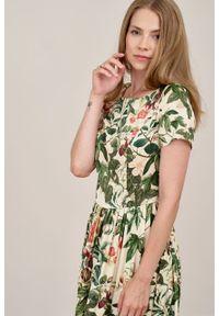 Marie Zélie - Sukienka Melania Ciruela. Materiał: wiskoza, skóra, materiał. Długość rękawa: krótki rękaw. Sezon: lato