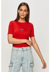 Czerwona bluzka adidas Originals z okrągłym kołnierzem, sportowa, z nadrukiem