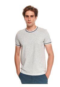 TOP SECRET - T-shirt z gładkiej dzianiny z lamówkami. Kolor: szary. Materiał: dzianina. Długość rękawa: krótki rękaw. Długość: krótkie. Wzór: gładki
