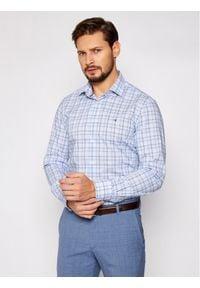 Tommy Hilfiger Tailored Koszula Check Reg MW0MW16448 Niebieski Regular Fit. Kolor: niebieski