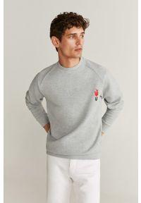 Szara bluza nierozpinana Mango Man z okrągłym kołnierzem, na co dzień