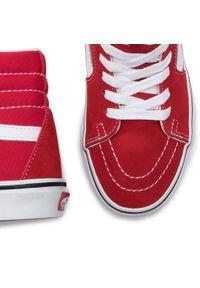 Czerwone półbuty Vans z cholewką, casualowe, na co dzień