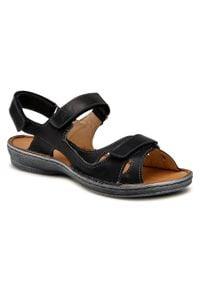 Łukbut - Sandały ŁUKBUT - 637-001 Czarny. Kolor: czarny. Materiał: skóra. Sezon: lato