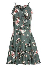 Zielona sukienka bonprix na lato, z nadrukiem, na ramiączkach