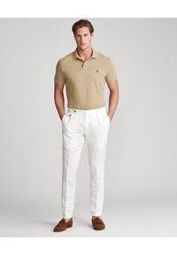 Ralph Lauren - RALPH LAUREN - Beżowa koszulka polo Mesh Classic Fit. Typ kołnierza: polo. Kolor: beżowy. Materiał: mesh. Wzór: haft #4