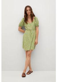 Zielona sukienka mango w kwiaty, casualowa, z krótkim rękawem