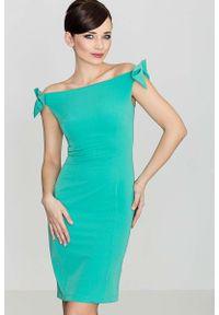 Zielona sukienka Katrus z kokardą, elegancka