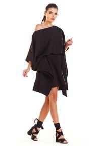 e-margeritka - Sukienka kimonowa z paskiem czarna - uni. Okazja: na imprezę. Kolor: czarny. Materiał: poliester, materiał, elastan. Typ sukienki: oversize. Styl: elegancki