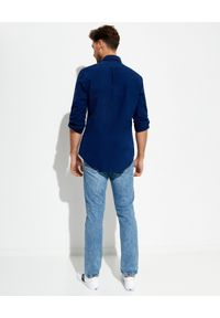 Ralph Lauren - RALPH LAUREN - Granatowa koszula Oxford z kultowym logo. Typ kołnierza: polo, kołnierzyk klasyczny. Kolor: niebieski. Długość rękawa: długi rękaw. Długość: długie. Wzór: haft. Styl: klasyczny