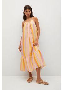 mango - Mango - Sukienka NIZA. Kolor: żółty. Materiał: materiał. Długość rękawa: na ramiączkach. Typ sukienki: rozkloszowane