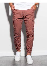 Ombre Clothing - Spodnie męskie joggery P893 - ceglaste - XXL. Kolor: czerwony. Materiał: bawełna, elastan. Wzór: aplikacja