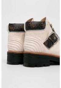 Białe botki Guess Jeans na sznurówki, z cholewką
