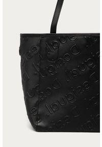 Czarna shopperka Desigual skórzana, duża