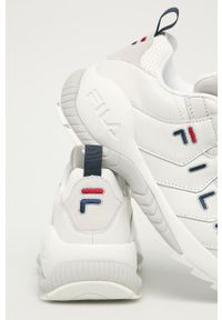 Białe buty sportowe Fila na sznurówki, z okrągłym noskiem, z cholewką
