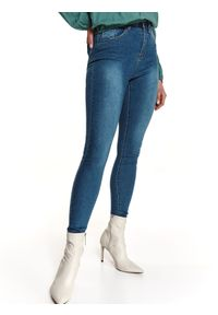 TOP SECRET - Jeansowe spodnie skinny. Kolor: niebieski. Materiał: jeans. Długość: długie. Sezon: wiosna. Styl: klasyczny