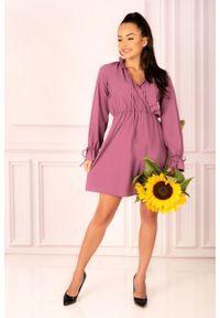Fioletowa sukienka rozkloszowana Merribel z kopertowym dekoltem, boho