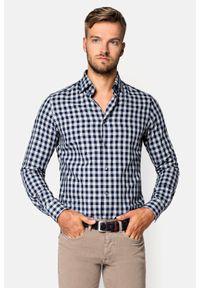 Lancerto - Koszula w Kratę Fuego. Okazja: na co dzień. Materiał: bawełna, dzianina, tkanina, jeans. Wzór: ze splotem, kratka. Styl: casual