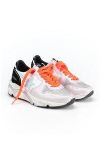 GOLDEN GOOSE - Sneakersy Running Sole. Kolor: biały. Materiał: dresówka, guma, jeans, materiał, zamsz. Wzór: aplikacja. Obcas: na koturnie. Sport: bieganie