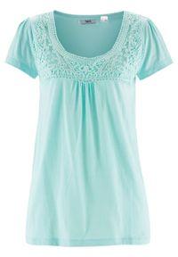 Shirt bawełniany z koronką i krótkim rękawem bonprix lodowy miętowy. Kolor: niebieski. Materiał: bawełna, koronka. Długość rękawa: krótki rękaw. Długość: krótkie. Wzór: koronka