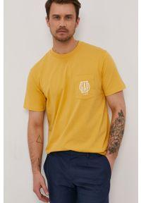 Żółty t-shirt GAP z nadrukiem, na co dzień