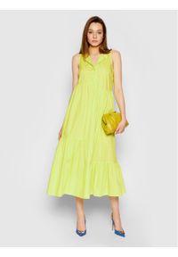 Żółta sukienka TwinSet prosta, na co dzień, casualowa