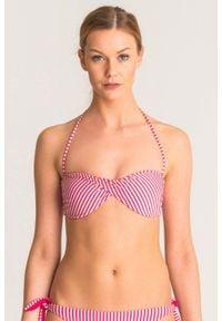 Różowo-srebrna góra od bikini Twinset U&B w paski. Kolor: srebrny, wielokolorowy, różowy. Wzór: paski