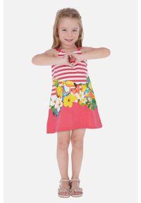 Różowa sukienka Mayoral w kwiaty, mini, na ramiączkach, rozkloszowana