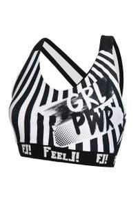 FJ! - Stanik sportowy GRL PWR. Materiał: dzianina, żakard, elastan, poliester, guma. Sport: fitness, bieganie
