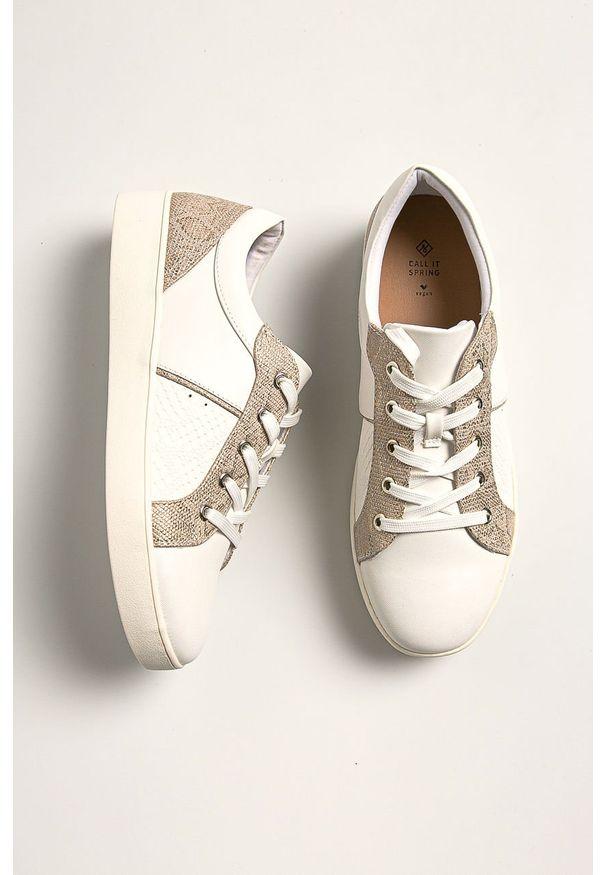 Białe buty sportowe Call It Spring na sznurówki, z cholewką, z okrągłym noskiem