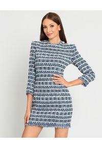 Balmain - BALMAIN - Tweedowa sukienka w pepitkę. Kolor: niebieski. Materiał: materiał. Wzór: aplikacja. Sezon: jesień. Styl: wizytowy. Długość: mini