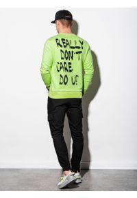 Ombre Clothing - Bluza męska bez kaptura z nadrukiem B1215 - zielona - XXL. Typ kołnierza: bez kaptura. Kolor: zielony. Materiał: bawełna, poliester. Wzór: nadruk
