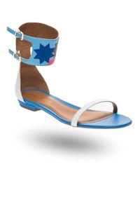 Białe sandały Emporio Armani na lato, w kolorowe wzory