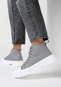 Born2be - Szare Trampki Amaliel. Kolor: szary. Materiał: jeans, materiał, guma. Szerokość cholewki: normalna. Wzór: gładki