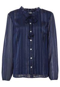 Bluzka z lureksową nitką bonprix ciemnoniebieski. Kolor: niebieski