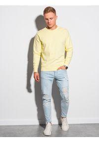 Ombre Clothing - Bluza męska bez kaptura bawełniana B1146 - żółta - XXL. Typ kołnierza: bez kaptura. Kolor: żółty. Materiał: bawełna. Styl: klasyczny, elegancki #3