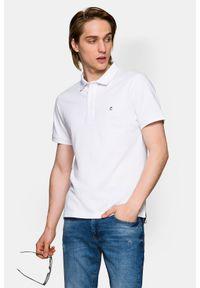 Lancerto - Koszulka Biała Polo Patrick 2. Typ kołnierza: polo. Kolor: biały. Materiał: włókno, tkanina, materiał, bawełna. Wzór: ze splotem, gładki. Styl: klasyczny