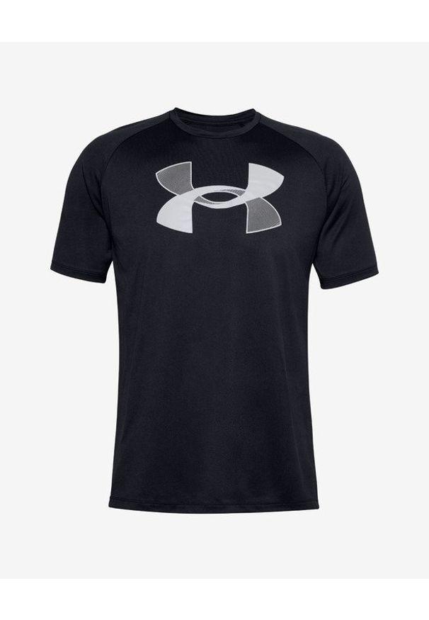 Czarny t-shirt Under Armour z okrągłym kołnierzem, z nadrukiem
