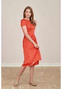 Marie Zélie - Sukienka Melania Trefle. Materiał: wiskoza, skóra, materiał. Długość rękawa: krótki rękaw
