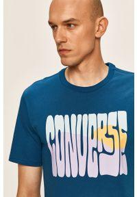 Niebieski t-shirt Converse z nadrukiem, casualowy, na co dzień