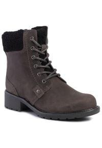 Clarks - Botki CLARKS - Orinoco Dusk 261464184 Dark Grey Leather. Kolor: szary. Materiał: materiał, nubuk, skóra. Szerokość cholewki: normalna. Obcas: na obcasie. Wysokość obcasa: średni