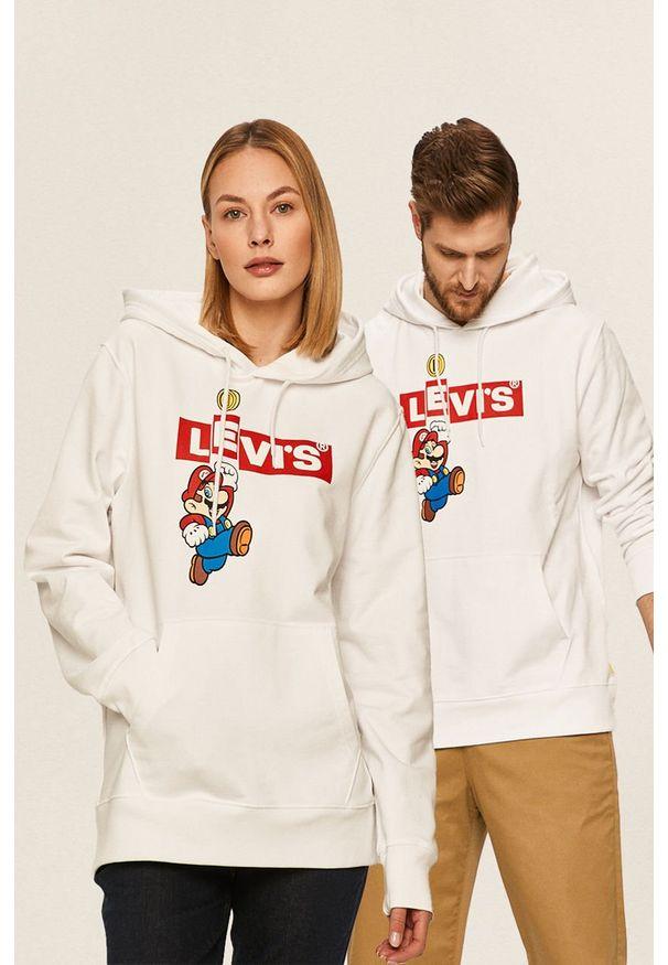 Biała bluza Levi's® w kolorowe wzory, casualowa, z kapturem