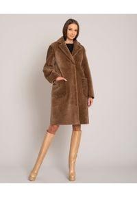 ALMAROSAFUR - Brązowy dwustronny kożuch. Kolor: brązowy. Materiał: puch. Sezon: zima. Styl: klasyczny, elegancki #5