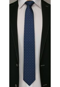 Granatowy Elegancki Krawat -Angelo di Monti- 7 cm, Męski, w Chabrowe Kwiatki. Kolor: niebieski. Wzór: kwiaty. Styl: elegancki
