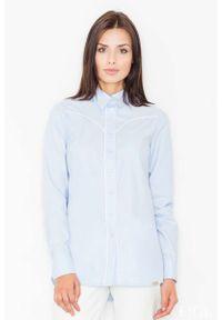 Niebieska koszula Figl klasyczna, z klasycznym kołnierzykiem