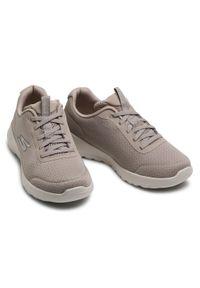 Beżowe buty do fitnessu skechers na co dzień, z cholewką