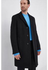 BOSS - Boss - Płaszcz. Kolor: czarny. Materiał: tkanina. Wzór: gładki